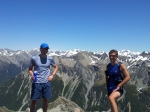 the boys on Lyell Peak with Mt Murchison in far distance- APNP highest peak